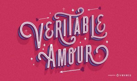 Design de letras de dia dos namorados francês