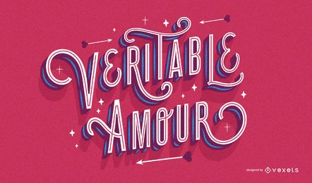 French valentine's lettering design