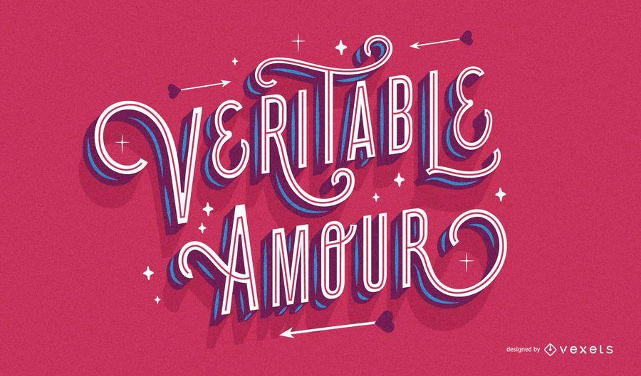 French valentine's lettering design