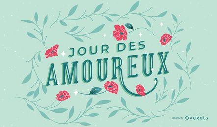 Desenho de letras francesas do dia dos namorados