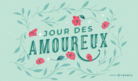 Valentine's day french lettering design