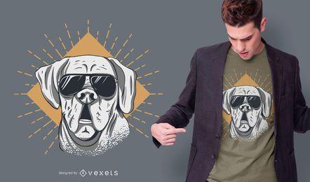 Design de t-shirt de cachorro de óculos de sol
