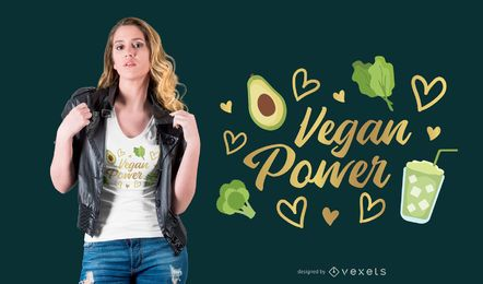 Diseño de camiseta vegano power