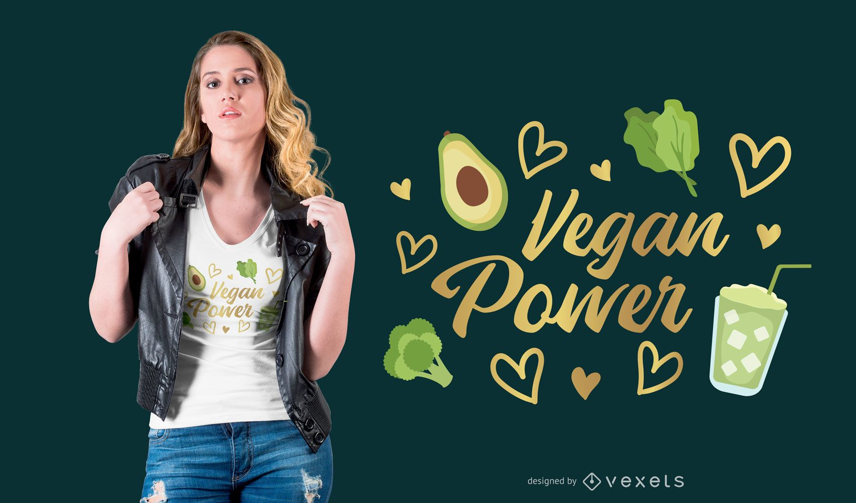 Vegan power t-shirt design