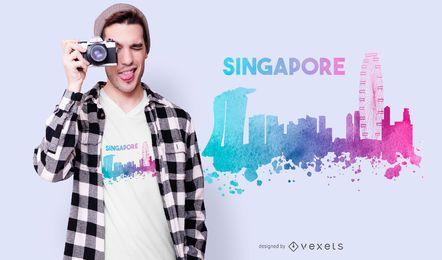 Diseño de camiseta de skyline de Singapur