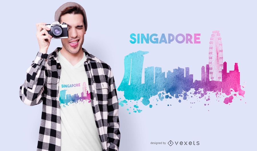 Design de t-shirt do horizonte de Singapura
