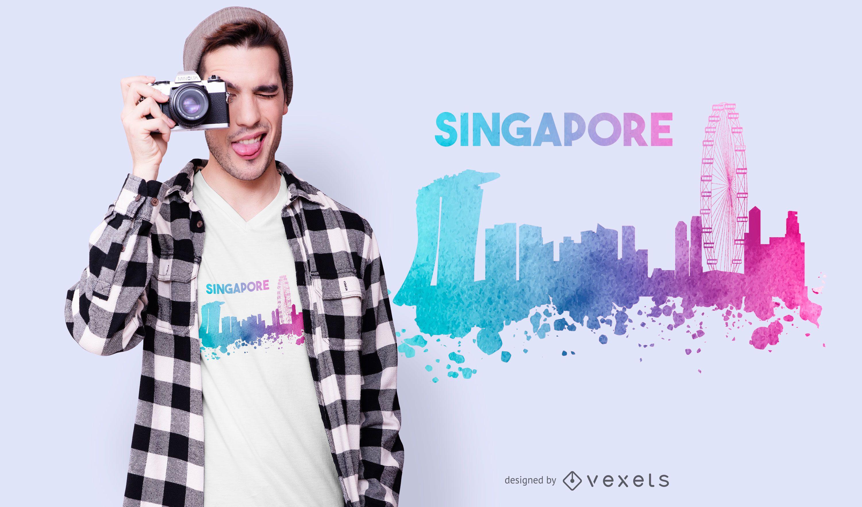 Design de camiseta do horizonte de Cingapura