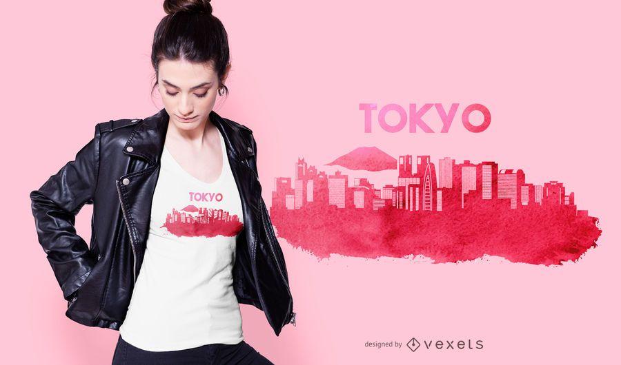 Design de t-shirt do horizonte de Tóquio