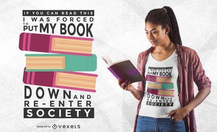 Livro para baixo design de t-shirt