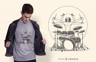 Baterista tocando design de camiseta