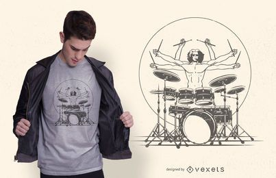 Baterista tocando design de t-shirt