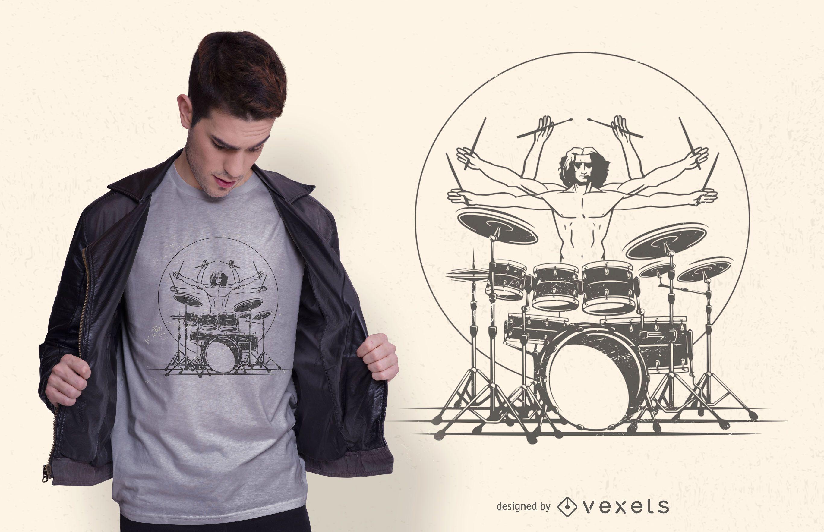 Drummer playing t-shirt design