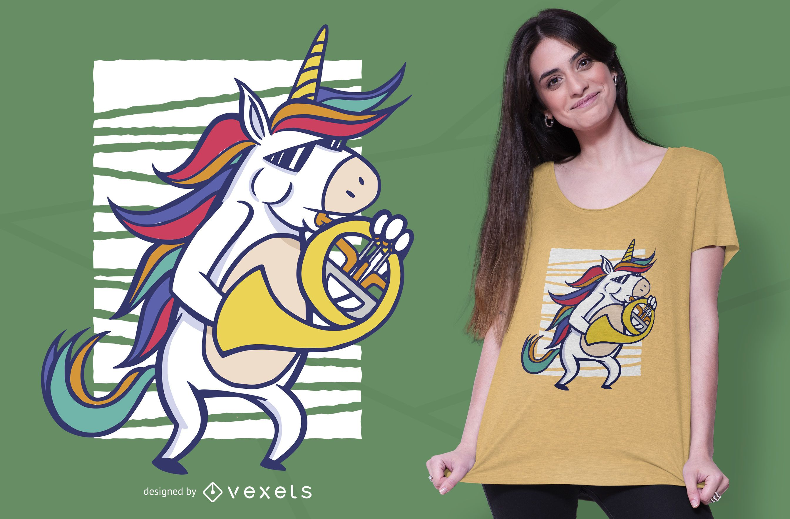 French horn unicorn t-shirt design