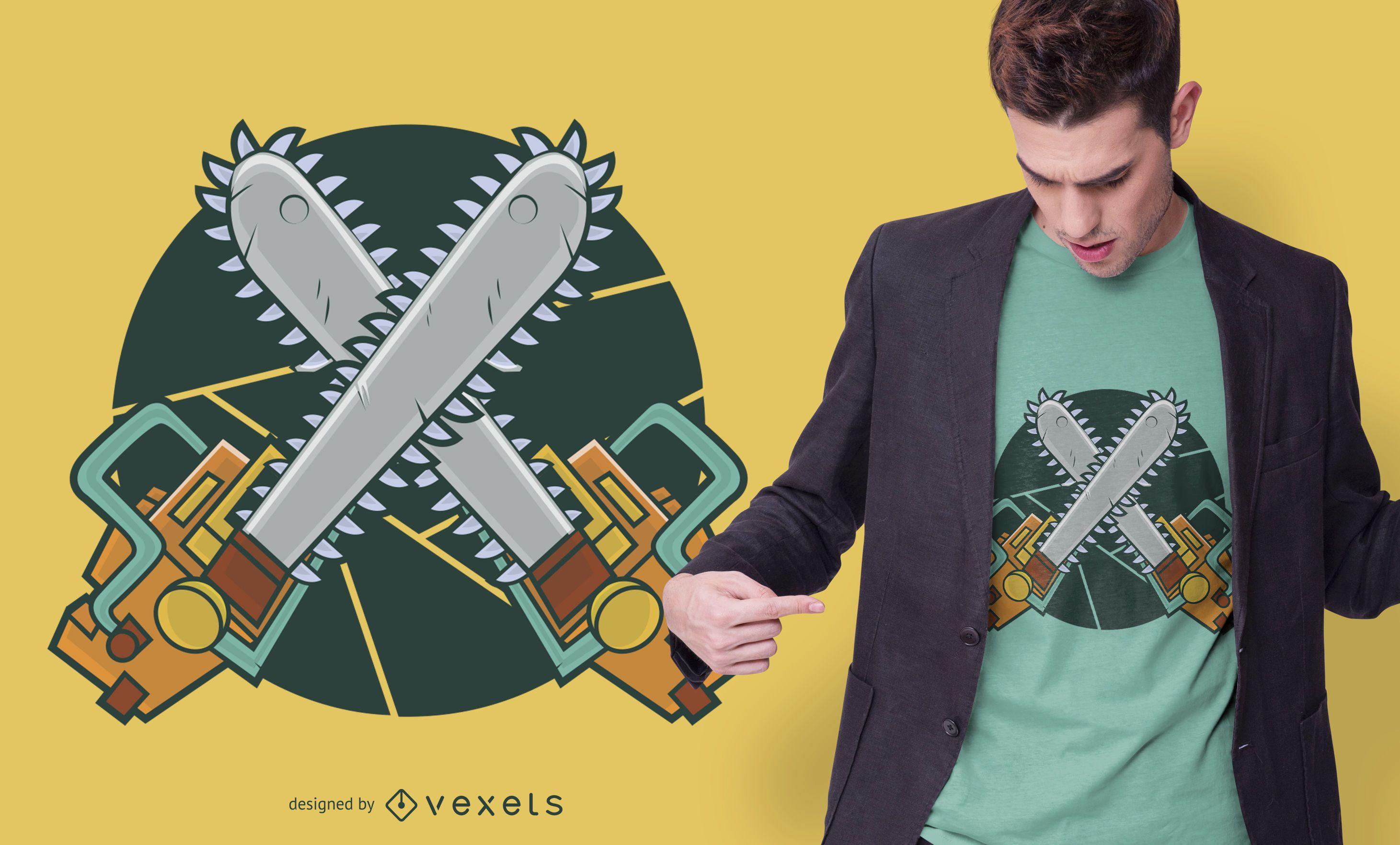 Diseño de camiseta de motosierras
