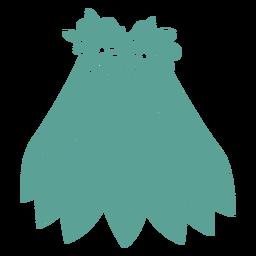 Silhueta detalhada de saia flor