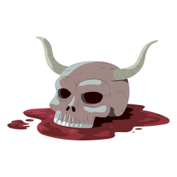 Skull horn blood illustration