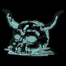 Skull horn line illustration