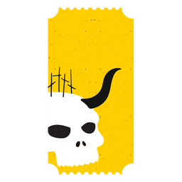 Ticket skull horn flat