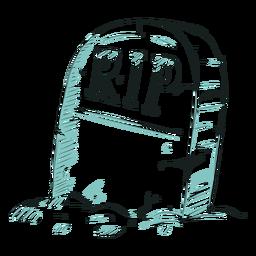 Ilustración de línea de rasgadura de lápida