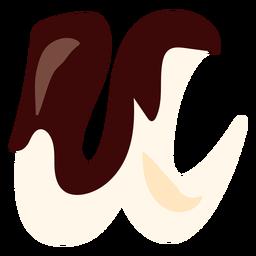 U u carta chocolate plana