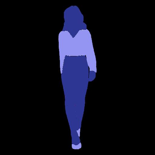 Mujer blusa falda silueta detallada Transparent PNG