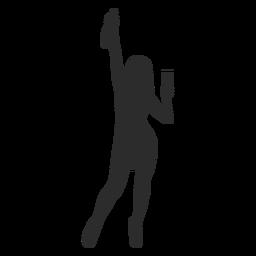 Frauenmädchen-Glasflaschenschattenbild