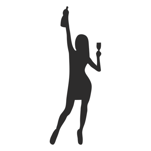 Woman girl glass bottle silhouette Transparent PNG