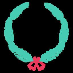 Etiqueta engomada de la insignia de campana de rama de marco de corona