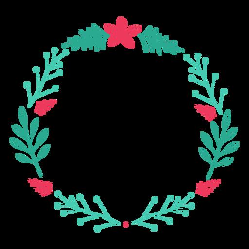 Wreath frame branch flower badge sticker Transparent PNG