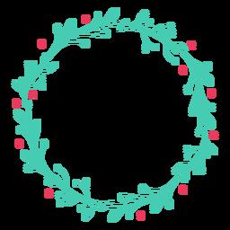 Etiqueta engomada de la insignia de hoja de rama de marco de guirnalda