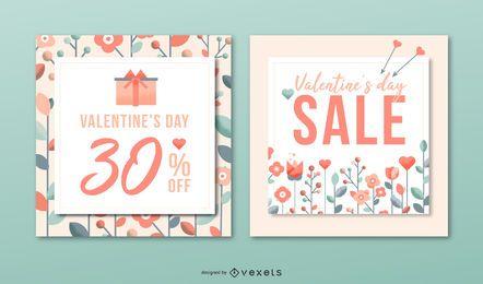 Conjunto de banners de venta del día de Valenitne