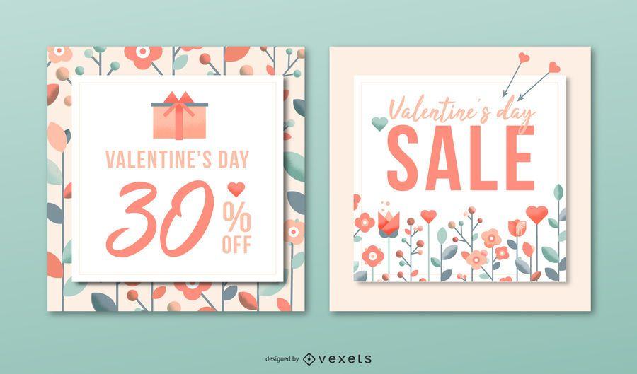 Conjunto de banner de venda do dia de Valenitne