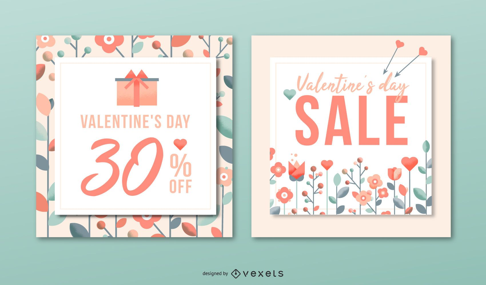 Valenitne's day sale banner set