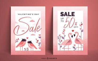 Valentinstag-Verkauf-Plakat-Set