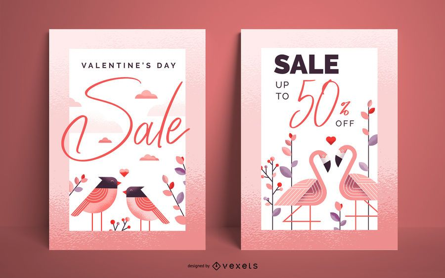 Conjunto de cartaz de venda do dia dos namorados
