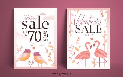 Conjunto de carteles de venta de San Valentín