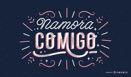Design de letras em português dos namorados