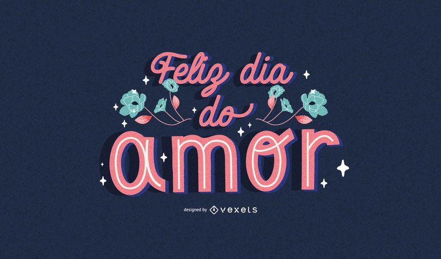 Valentine's day portuguese lettering