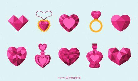 Conjunto de diseño de corazones rosados facetados