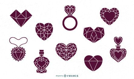 Faceted Hearts Silhouette Pack