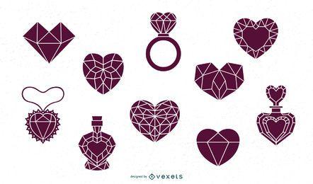 Pacote de silhueta de corações facetados
