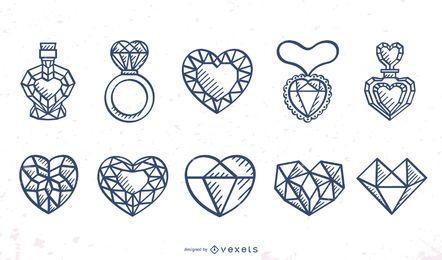Facettierter Herz-Anschlag-Design-Satz