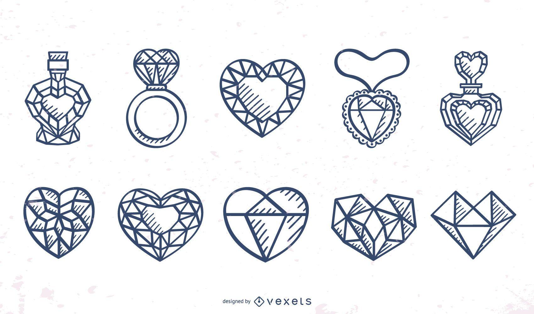 Conjunto de diseño de trazo de corazones facetados