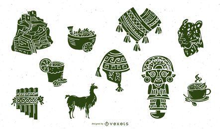 Conjunto de silhueta de elementos de civilização inca