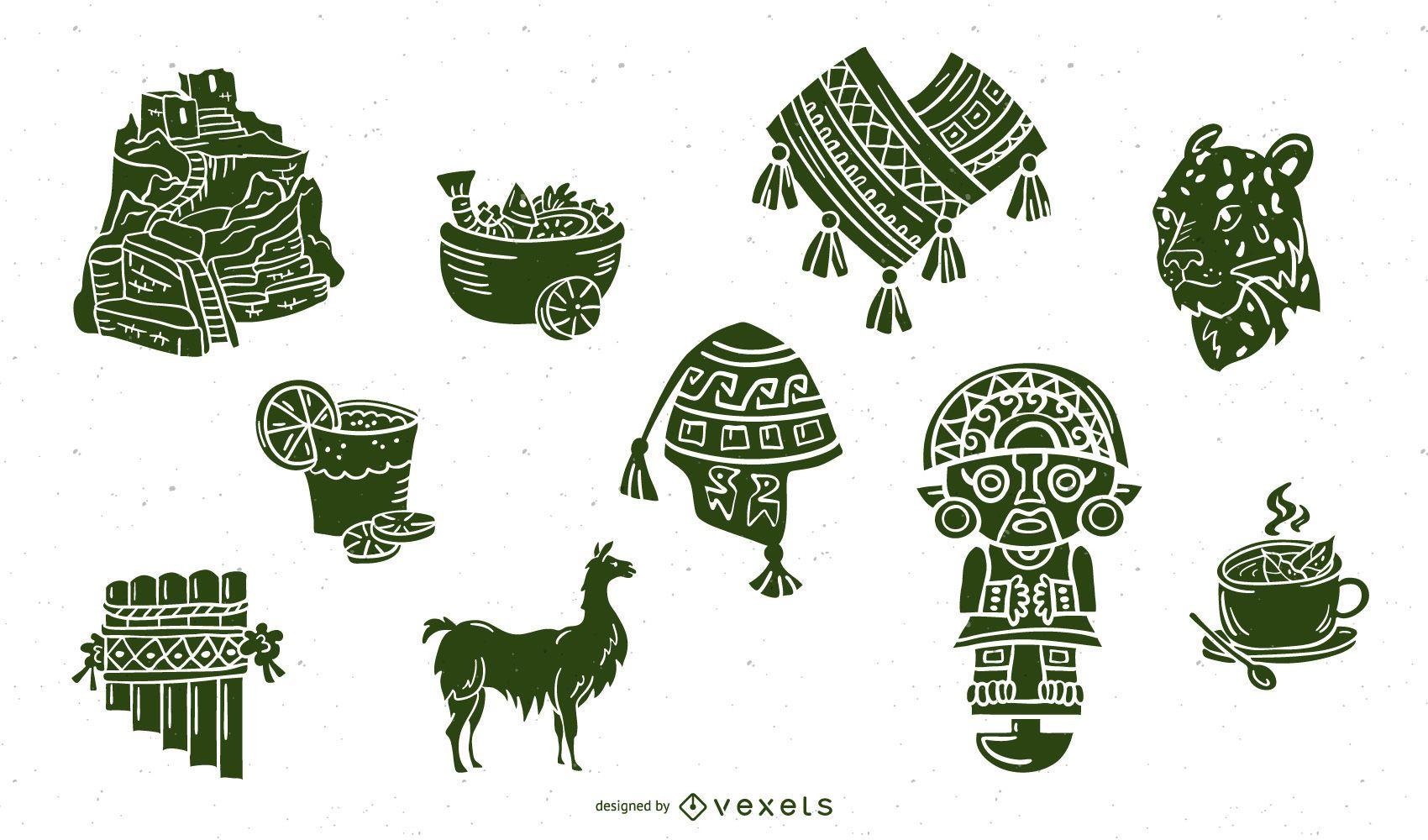 Inca Civilization Elements Silhouette Set
