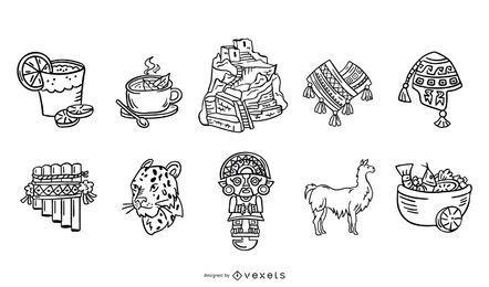 Conjunto de elementos de traçado de civilização inca