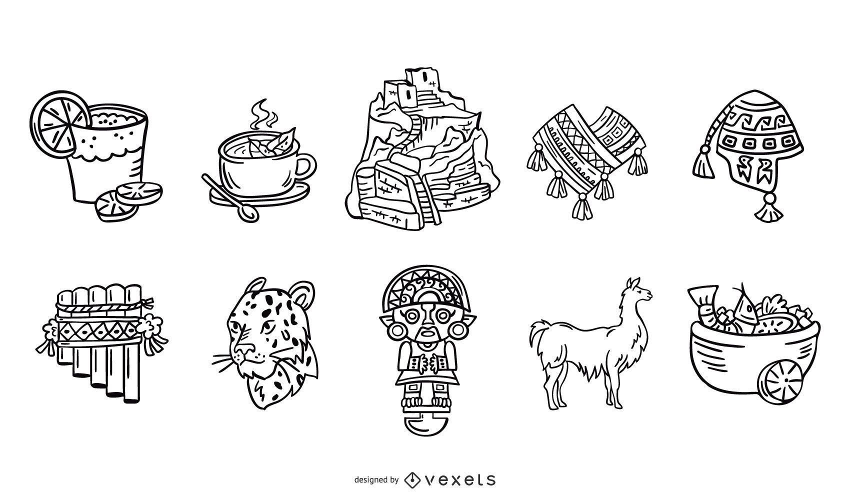 Conjunto de elementos de traço da civilização inca