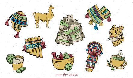 Conjunto de diseño coloreado de elementos incas