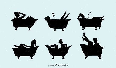 Conjunto de silhueta de banheira de mulher