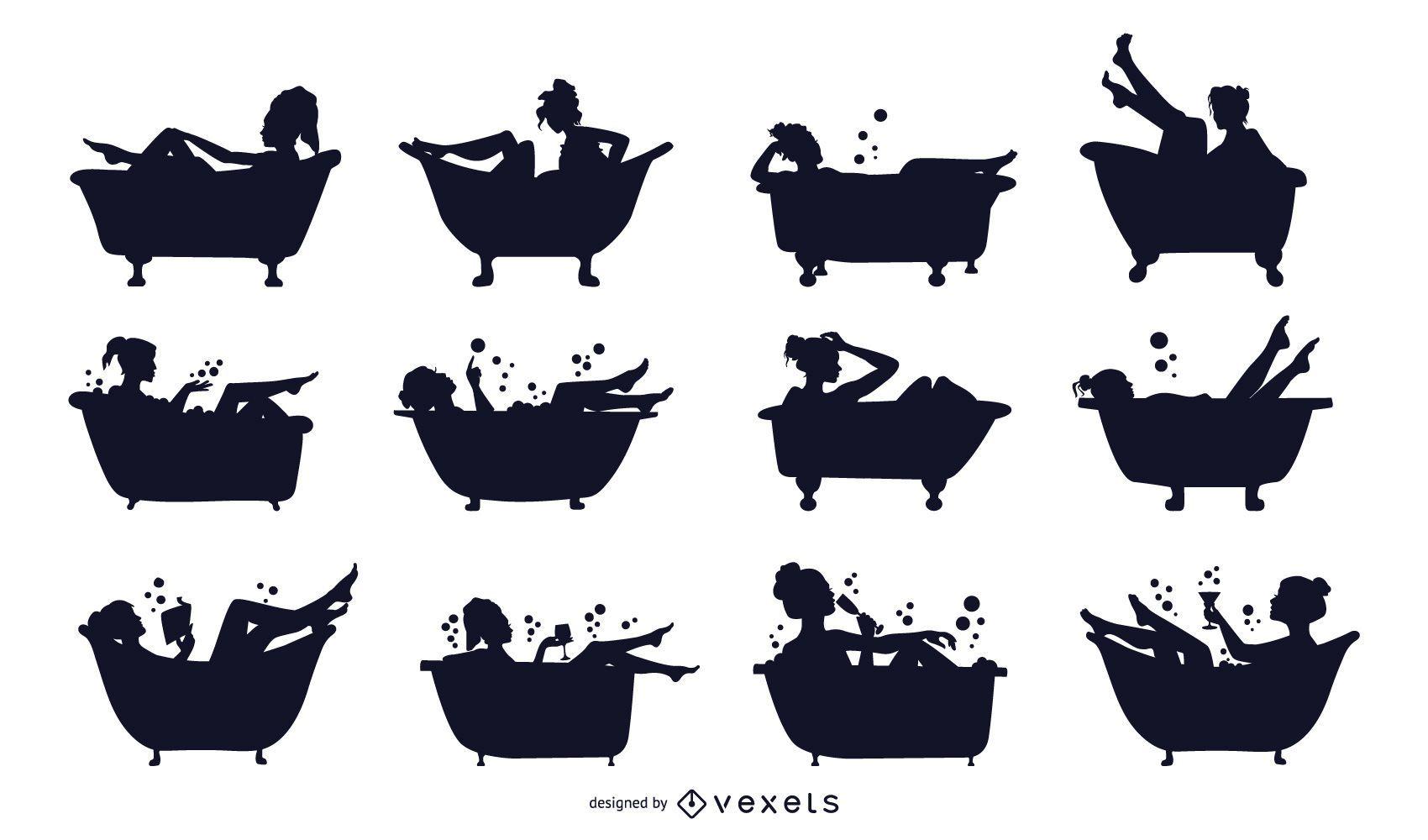 Conjunto de silueta de bañera de mujer